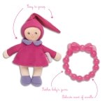 Corolle - Babypop (paars) en bijtspeeltje