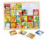 Houten puzzel - Dierenkopjes - Legler