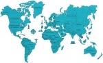 Wereldkaart XL- Blauw - Wooden.City