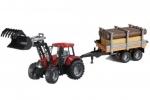 Bruder tractor met voorlader en aanhangwagen