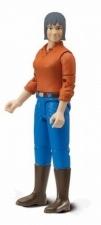 Bruder vrouw met zwart haar oranje trui