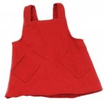 Handpoppen kleding - Rode jurk - 35cm