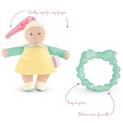 Corolle - Babypop (geel) en bijtspeeltje - 15cm