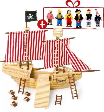 Piratenschip met 6 GRATIS piratenpoppen