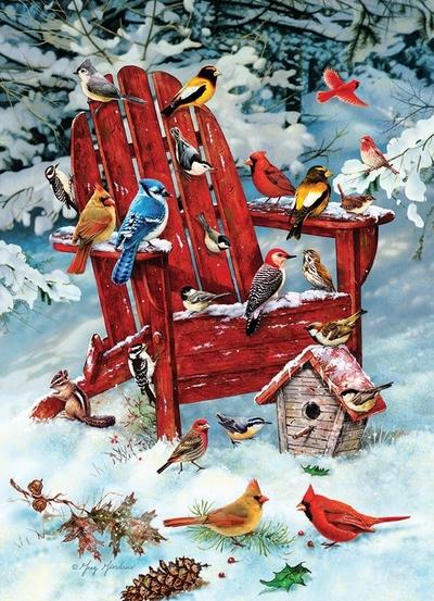 Legpuzzel - Tuinstoel met vogels