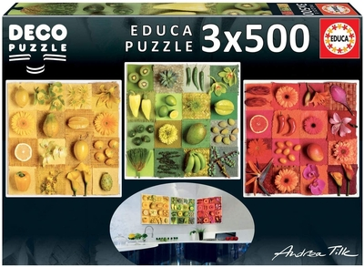 Legpuzzel - 3x 500 - Exotic fruits and flowers